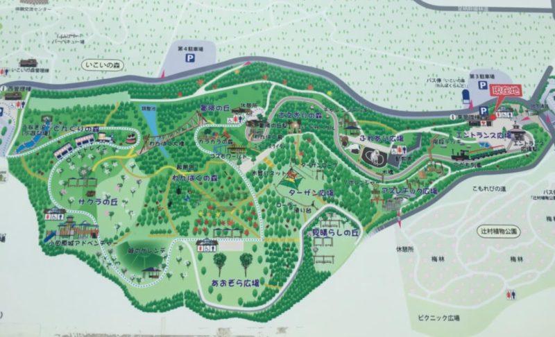 小田原こどもの森公園わんぱくらんどの園内地図の看板の写真