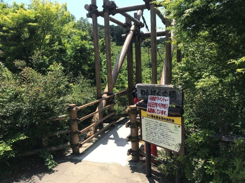 小田原こどもの森公園わんぱくらんどのわんぱく大橋の入り口
