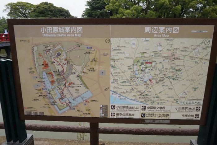 小田原城の正門にあるマップ