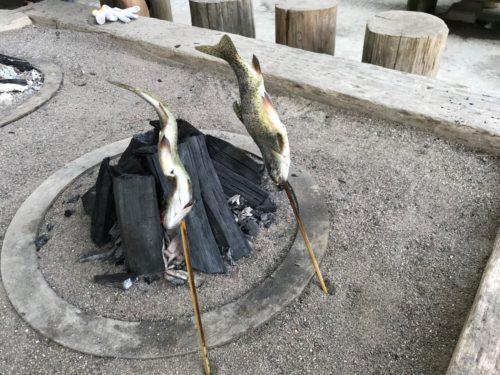 南ヶ丘牧場で釣ったニジマスを焼く!