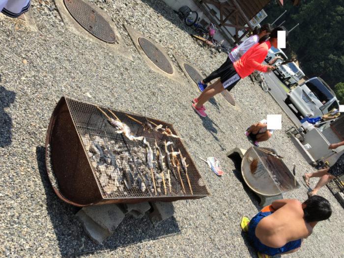 白川渡オートキャンプ場で焼き魚