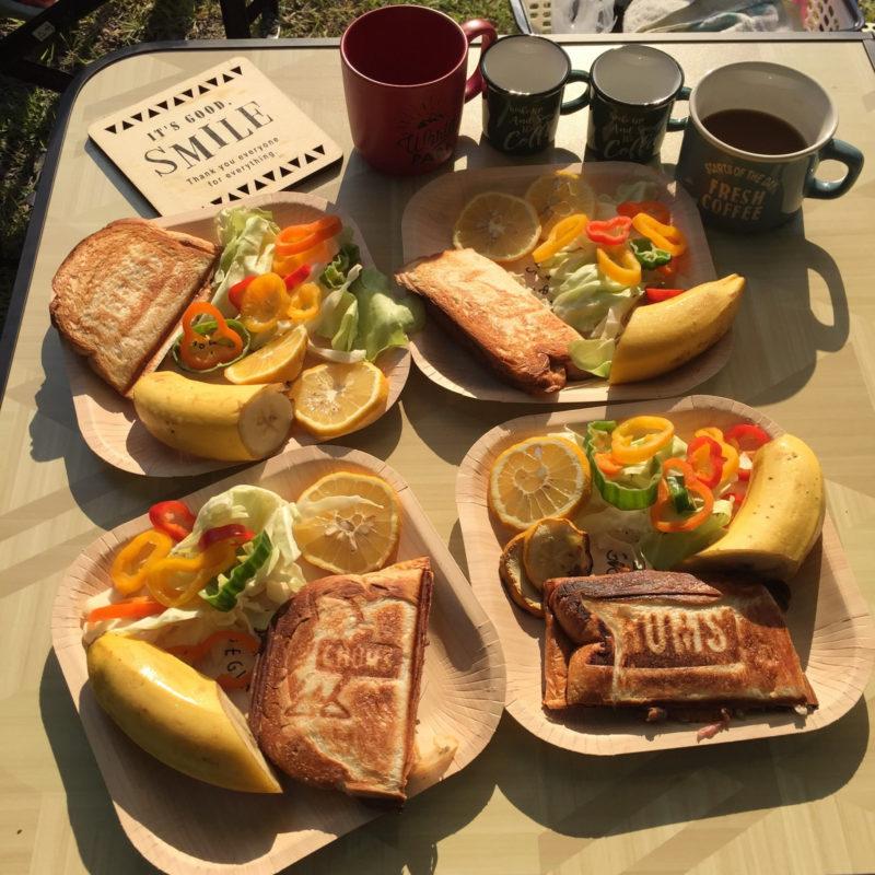白川渡オートキャンプ場で朝食、ホットサンド