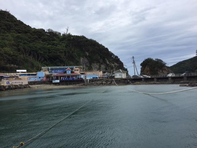 下田海中水族館の浮き桟橋からの景色