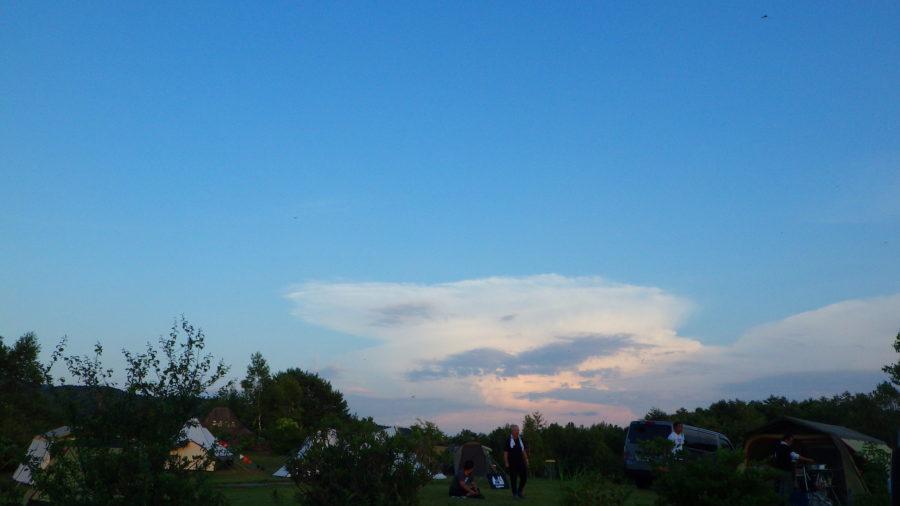 南乗鞍キャンプ場で見た夕焼け