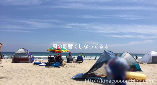 ワンタッチテント-山善(YAMAZEN)のクイッククローズシェードQCS-6SUVが風で飛ばされそう