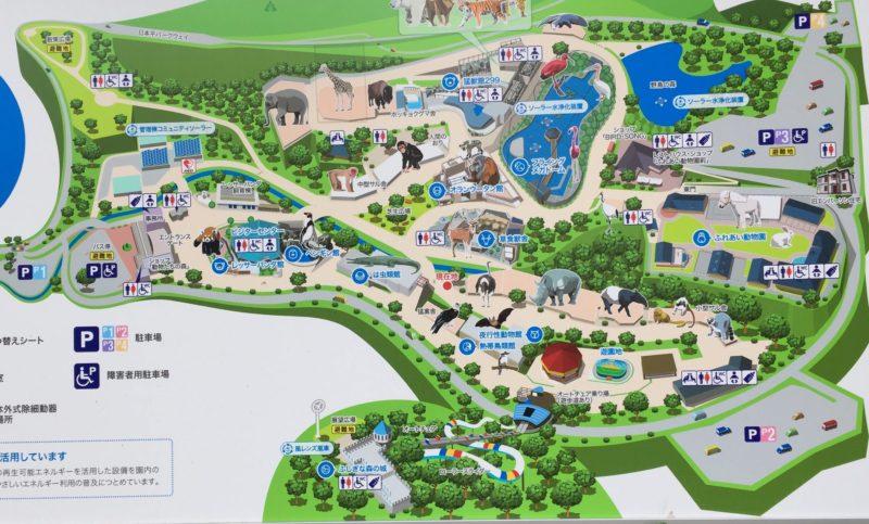 日本平動物園の園内マップ