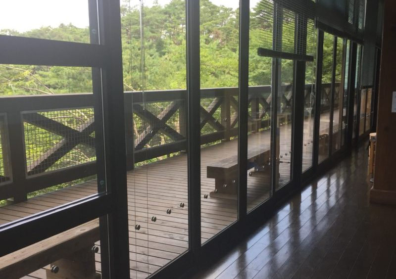 バードピア浜北の観察テラスと飲食スペース