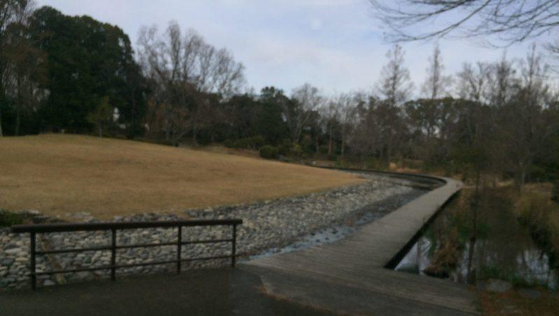 飯田公園の小川と広場