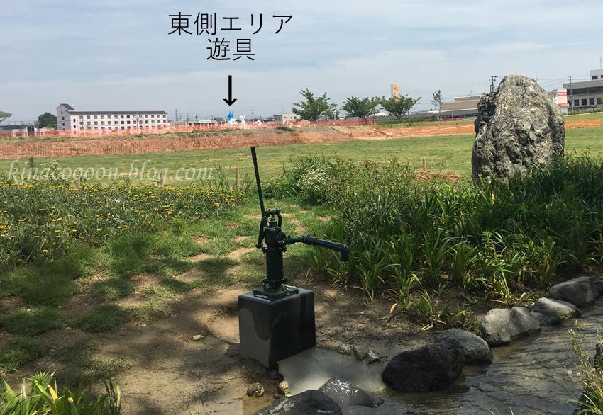 今之浦公園の広さ(じゃぶじゃぶスポットから遊具までの距離)