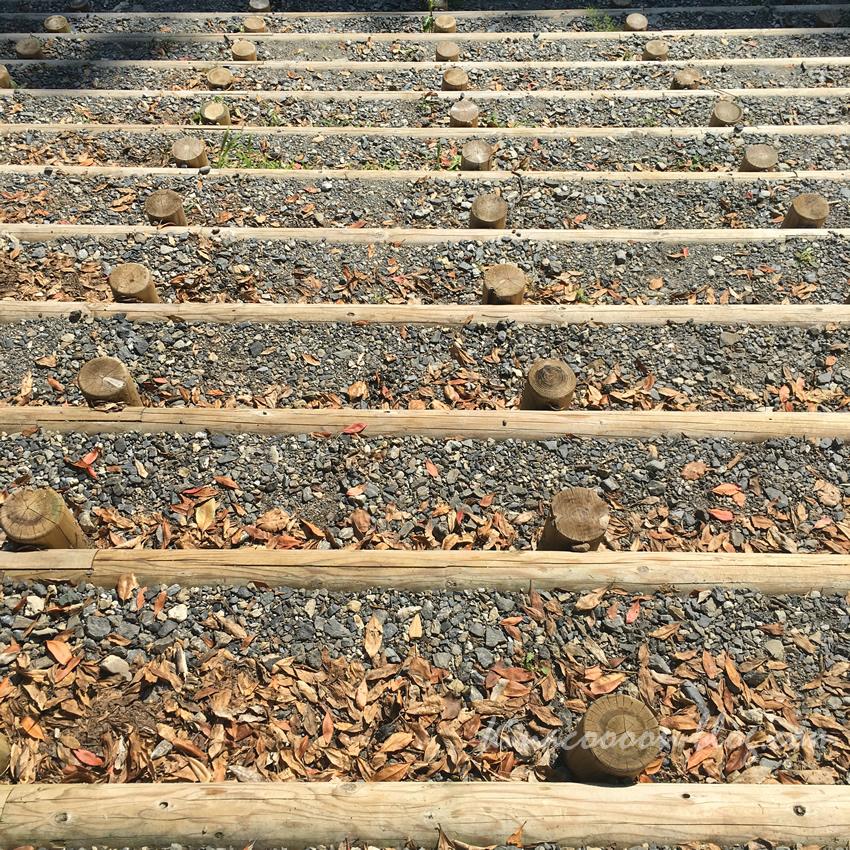 くんま水車の里の阿多古川につながる階段